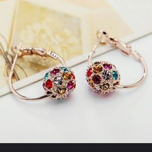 Multicolor Austrian Crystal Ball Drop Earrimgs